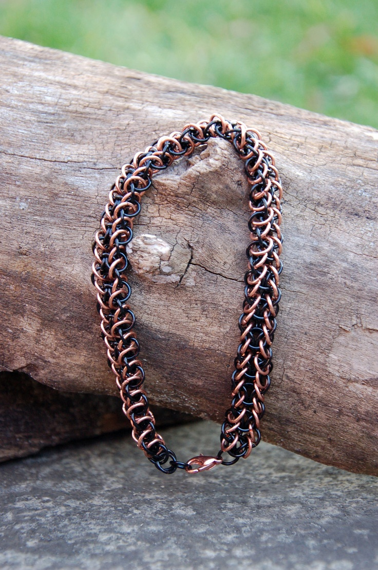 Men's Black and Copper Elfweave Chainmaille Bracelet