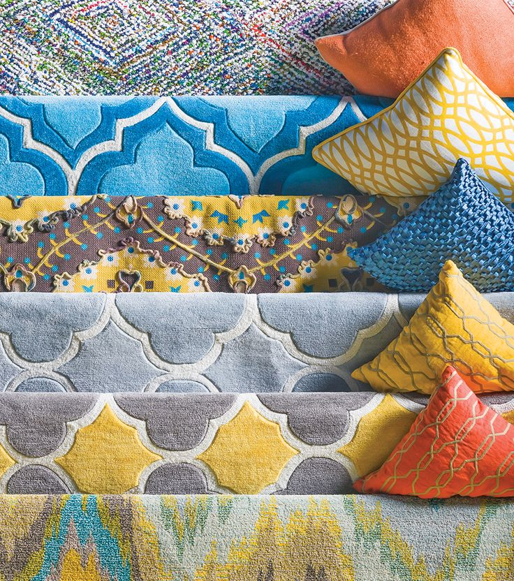 Bring some bold patterns to your room. See all our rugs online. #LivingSpaces