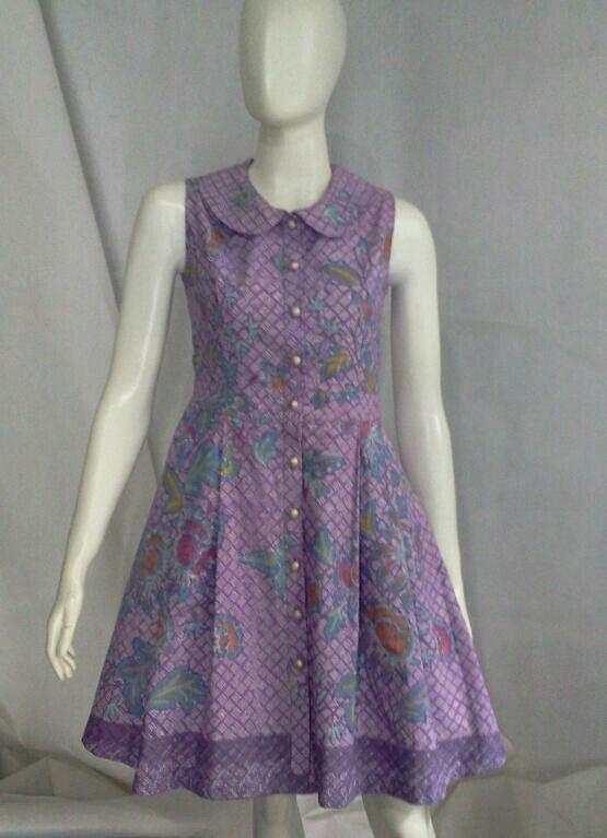 dress batik ungu, cute!