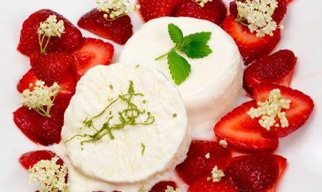 Swedish summer strawberries with elderflower parfait