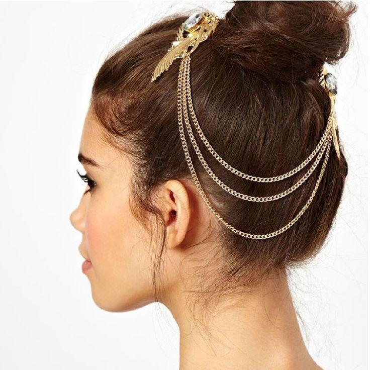 Chica de belleza Retro de Oro Joya de Diamantes Ángel de Plumas Borlas Lado Banda Pinza de Pelo Horquilla de Agosto 18