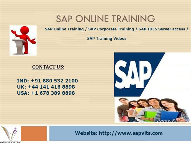 We provide SAP online training, SAP course,SAP training,SAP course details,SAP training online,SAP training courses with certifications, server access facility at SAPVITS.Visit us for SAP course details,fees structure,learn SAP server access facility.