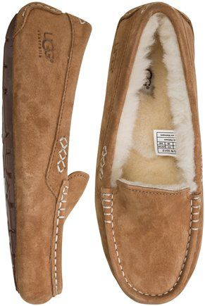 I don't like Uggs, but I LOVE these slippers. Too bad they're $100!! Way too much for some dang slippers! UGG ANSLEY SLIPPER | Swell.com
