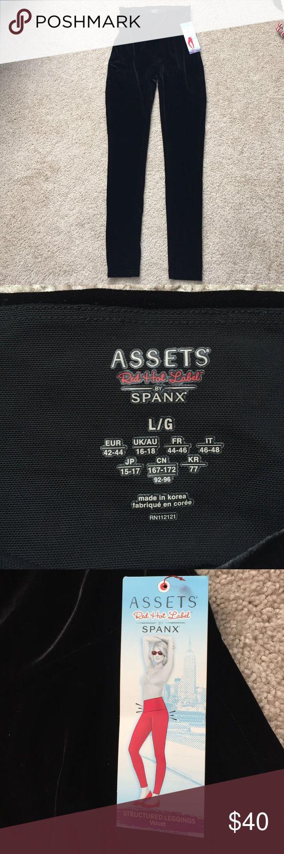 """NWT Spanx black velvet leggings sz lg Brand new red hot label black velvet shaping spanx leggings !! Inseam measures 29"""" SPANX Pants Leggings"""