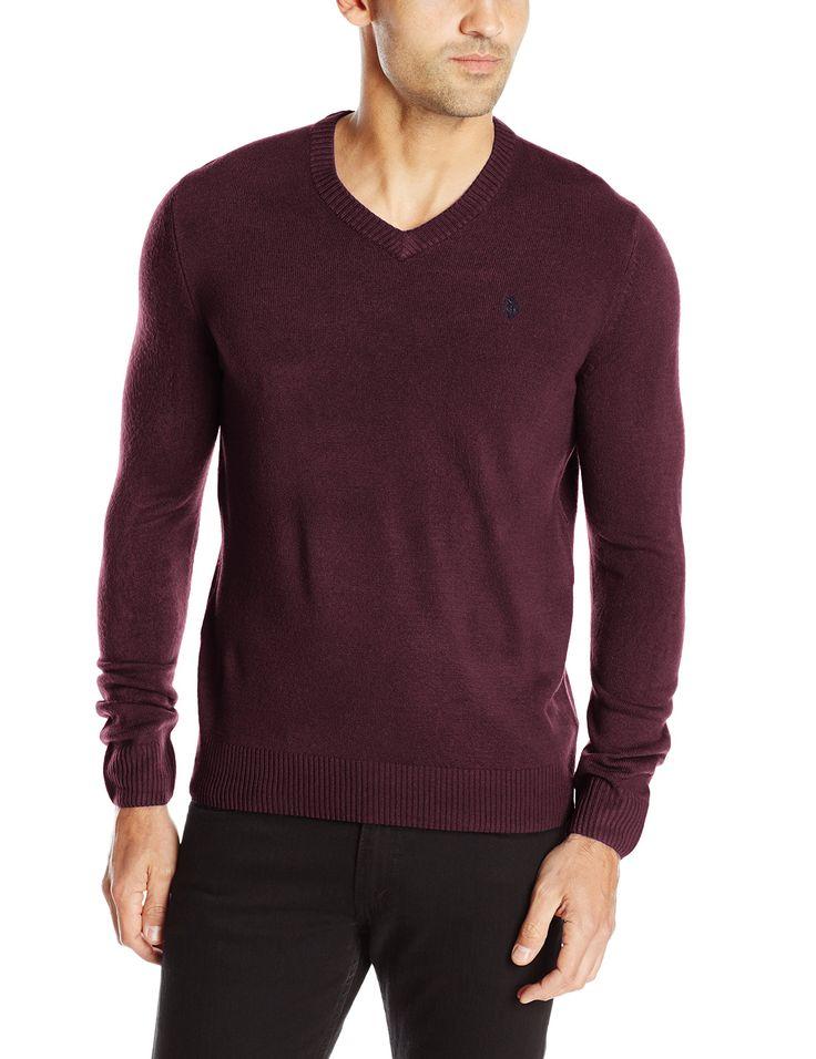 U.S. Polo Assn. Men's Solid V-Neck Sweater, Burgundy, Medium
