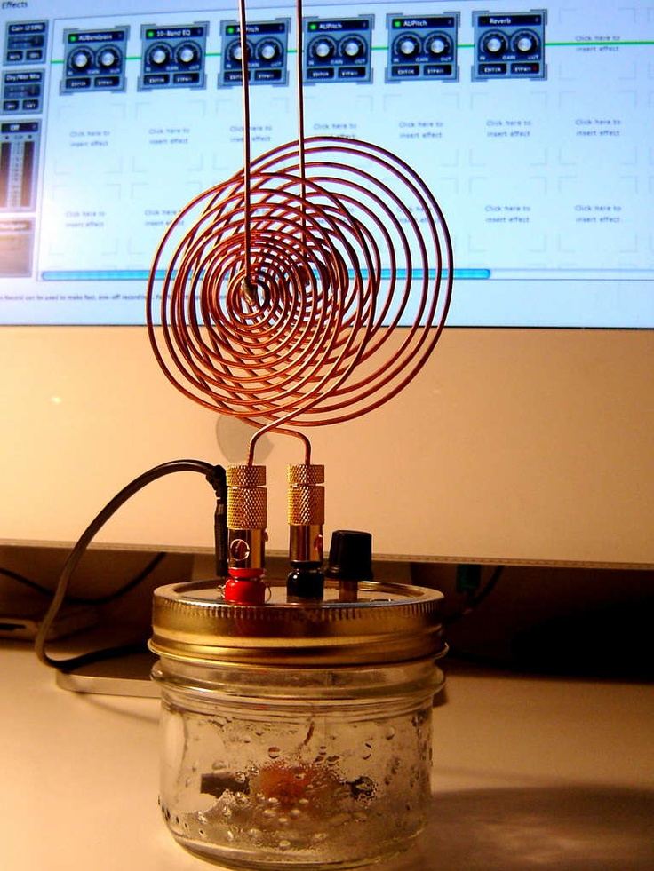 The Spooky Tesla Spirit Radio is more than just a crystal radio circuit in a jam-jar. It's a sound maker that plugs in to a computer, and makes awesome spooky sounds by responding to electromagnetic fields or light sources in real time.