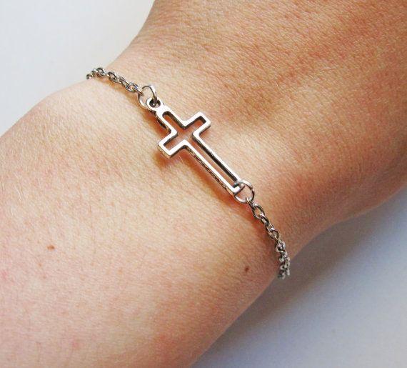 Tiny Cross Bracelet, Sideways Cross Bracelet in silver by RobertaValle