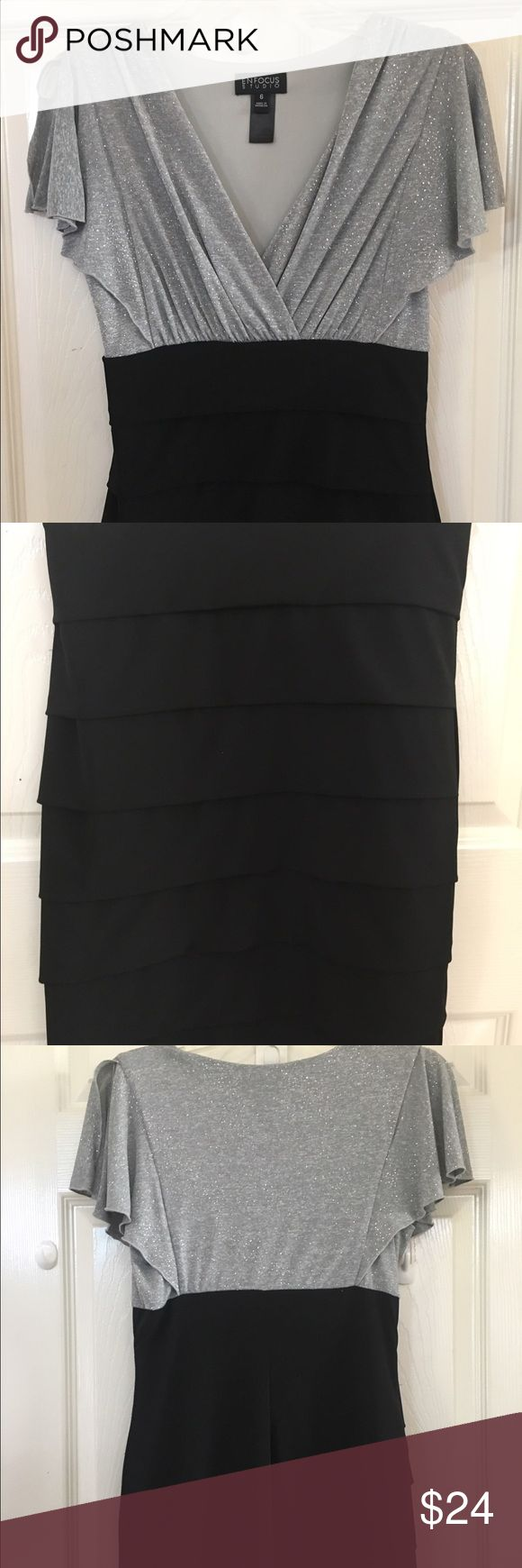 """NWOT snug fit party holiday dress Sparkle on top low cut black snug fitting skirt, the perfect length. Size 6 or medium polyester 94% spandex 6% In excellent condition! Dress is 36"""" from shoulder to bottom Enfocus Studio Dresses Midi"""