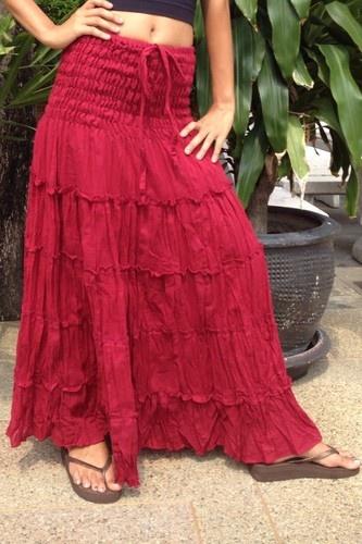 Long Gypsy Skirt Dress Boho Hippy Peasant Sun Tiered Cotton Burgundy SN600   eBay