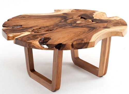 Rustic coffee table round with natural wood
