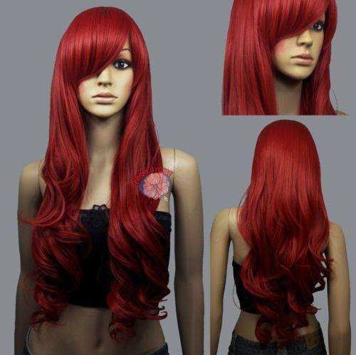 Горячая распродажа бесплатная доставка >>> горячий красный вьющиеся длинные косплей / маскарадный костюм парик / длинные женщин парик + бесплатная парик Cap