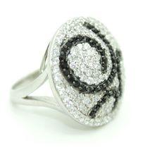 Fashion Jewellery Rings/Designer: The Glamorous Gatsby Ring - Black Glamorous & Attitude Range-sterling silver 925