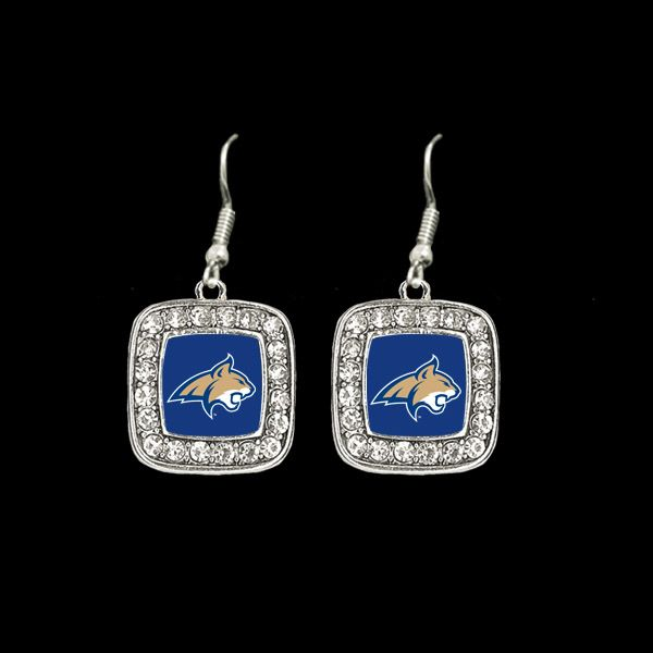 Earring, square with crystal detailing, MSU Bobcats   MSU Bookstore