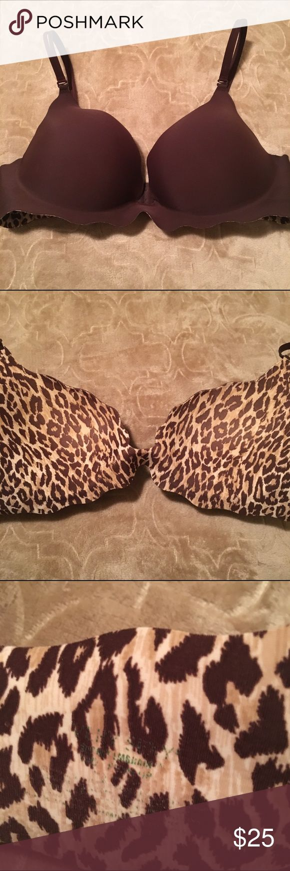 Victoria's Secret Very Sexy Secret Embrace 38D EUC Victoria's Secret Very Sexy Secret Embrace Push-up bra in size 38D. Brown with leopard print interior and double straps that can be switched to wear cross back as well. Excellent condition, minimal signs of wear and no damage to cups!! Fading of words on interior label. Victoria's Secret Intimates & Sleepwear Bras