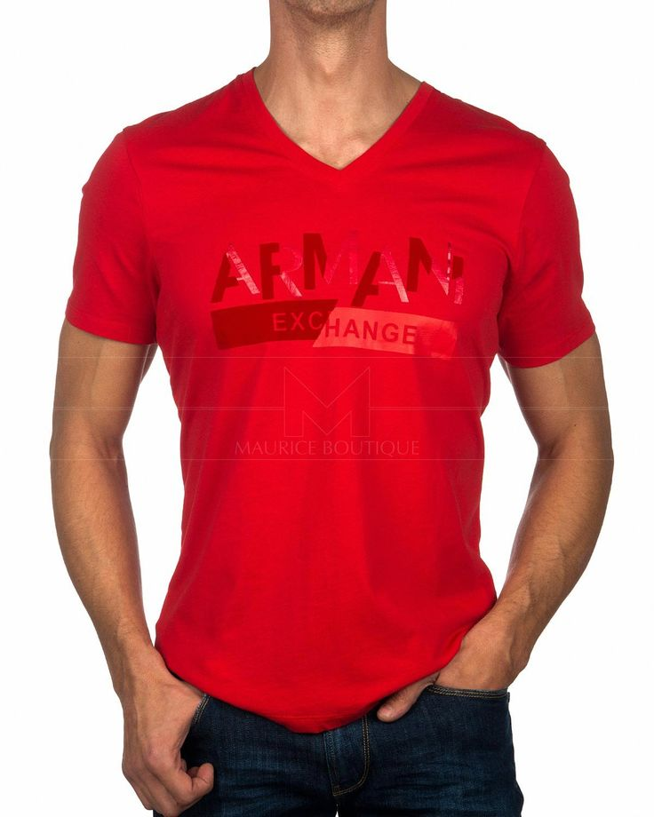 Camiseta Cuello Pico ARMANI EXCHANGE ® Roja | ENVÍO GRATUITO