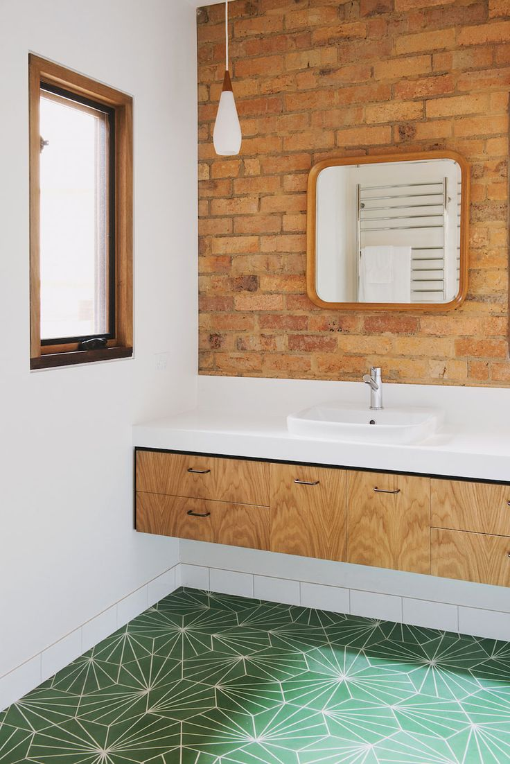Pin modern tile floor texture simple textured bathroom on pinterest - Light Wood Floating Bathroom Vanity With Exposed Brick And Green Tile Floor Modern Meets Natural Bathroom Design How Nest Architects Looked At
