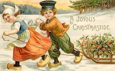 Dutch children vintage Christmas card - I've always wondered why my Polish/Ukranian nanny gave me wooden shoes for Christmas.