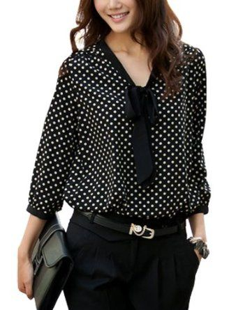 Allegra K Women's Tie-Bow Neck Dots Blouse #allegraK #women's #tiebow #neck #dotsblouse #blouse #fashion