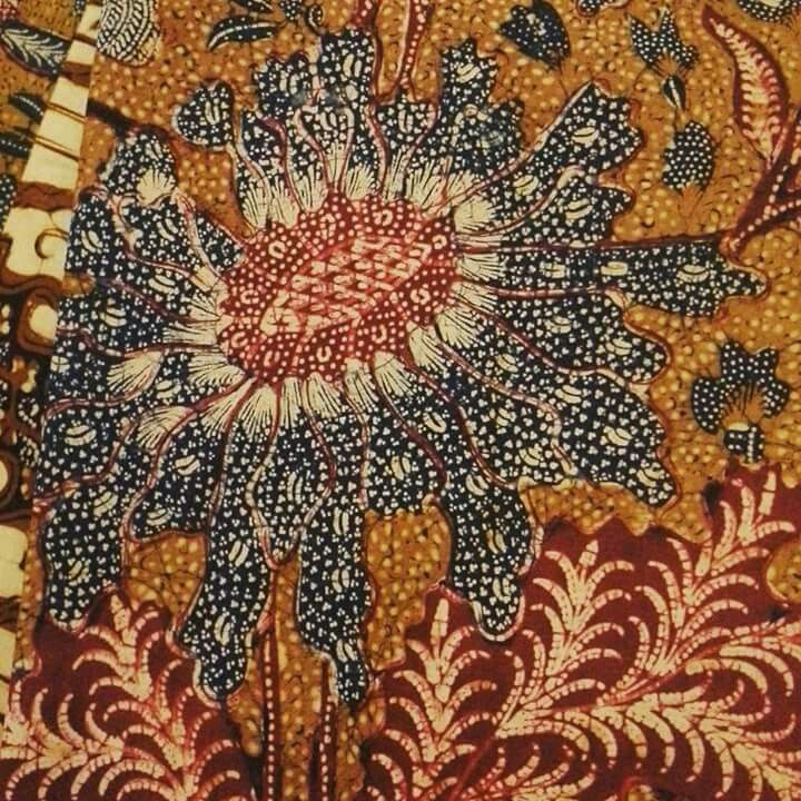 ♡♡♡  the flower of vintage sogan batik signed 'Tjoa Siang Gwan'