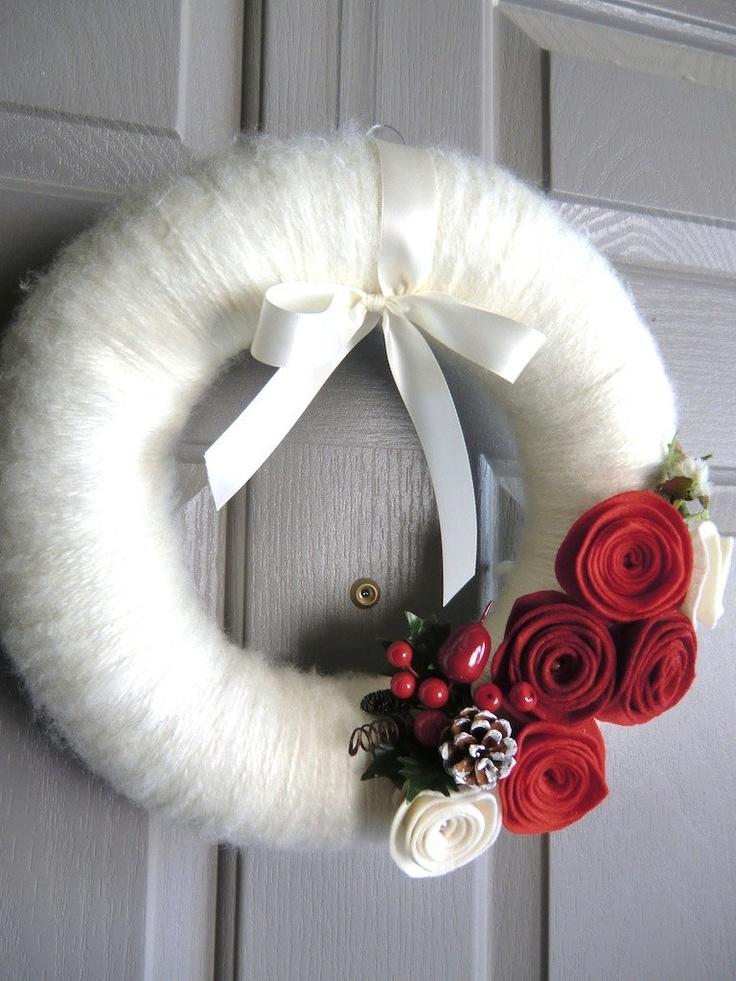 ghirlanda natale lana - christmas wreath of wool