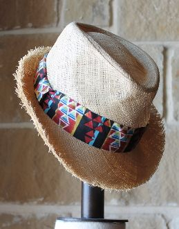 Straw Fedora with Aztec Band by San Diego Hat Company