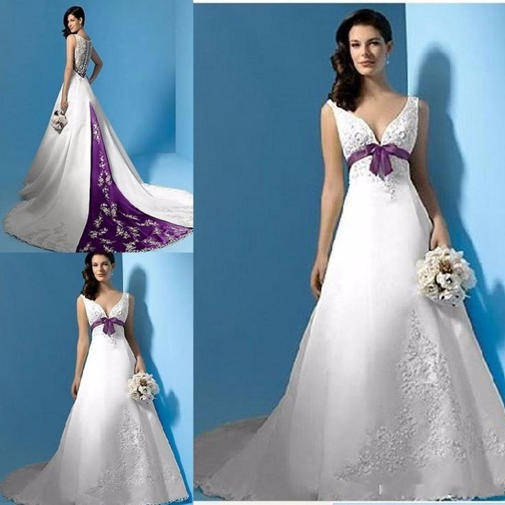 2017 Modest White and Purple Wedding Dresses Pao Embroidery Vestido De Noiva V Neck Sweep Train Custom Made Bridal Gowns