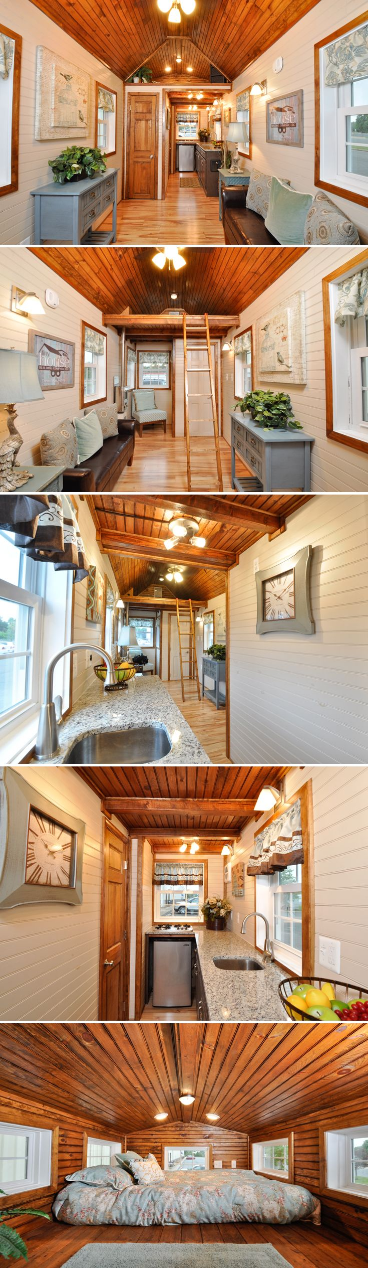 From Tiny House Building Company is the 272 sq.ft. Pioneer, built for off-grid living. The upgraded interior features a king size loft and hickory cabinets.