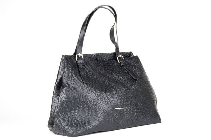 Wonderfulbag with textured weavesurfaceby DIANA FERRARI. In the ever classic and contemporary tote shape this bag will fit just about everything except the kitchen sink! Dress it up or down, this bag goes with everything. Adjustable over the shoulder straps and wide base with little feet. Inside there's one large compartment with a zip pocket on one side and two cell phone size pockets on the other side. Black silky soft lining. Magnetic and clip fastening to hold bag close...
