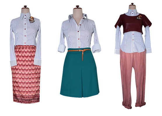Here are three outfits we worked together with the Mr. Rose Easy Rider Stripped Shirt and items found in our own wardrobe.