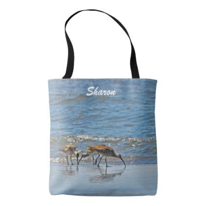 Whimbrels on the Oregon Coast Tote Bag - ocean side nature waves freedom design