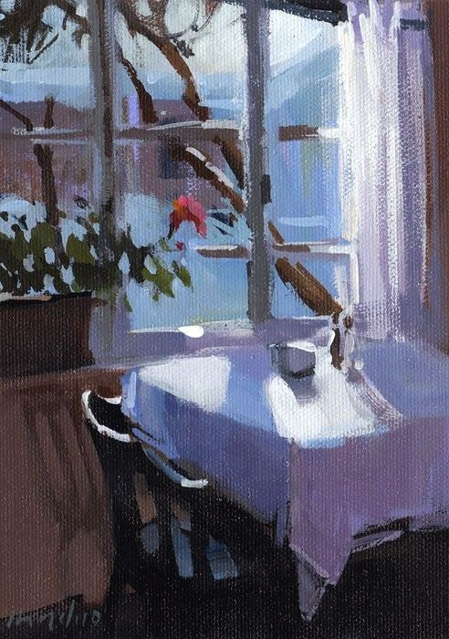 Art Print Romantic Interior Blue Dining Table with Flowers 5x7 on 8x10 - Blue Windows by David Lloyd. $14.00, via Etsy.