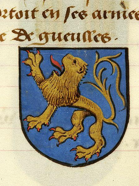 Medieval Manuscript Images, Pierpont Morgan Library, Noms, armes et blasons des chevaliers de la Table Ronde. MS M.16 fol. 33v Yvain (azure, a lion rampant or, armed and langued gules).