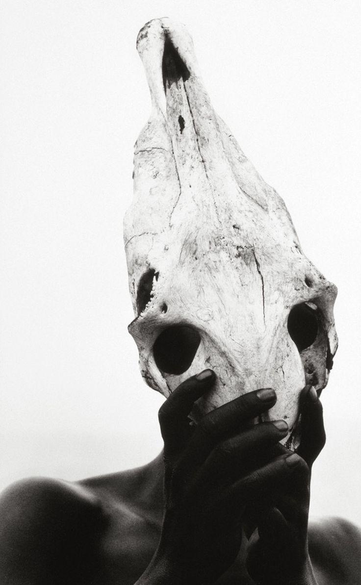 Herb Ritts (American, 1952-2002)Eona - Holding Zebra Skull, 1993©Herb Ritts/Courtesy of Edwynn Houk Gallery