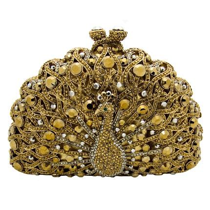 Swarovski Crystal Peacock Clutch Bag Gold by Butler & Wilson