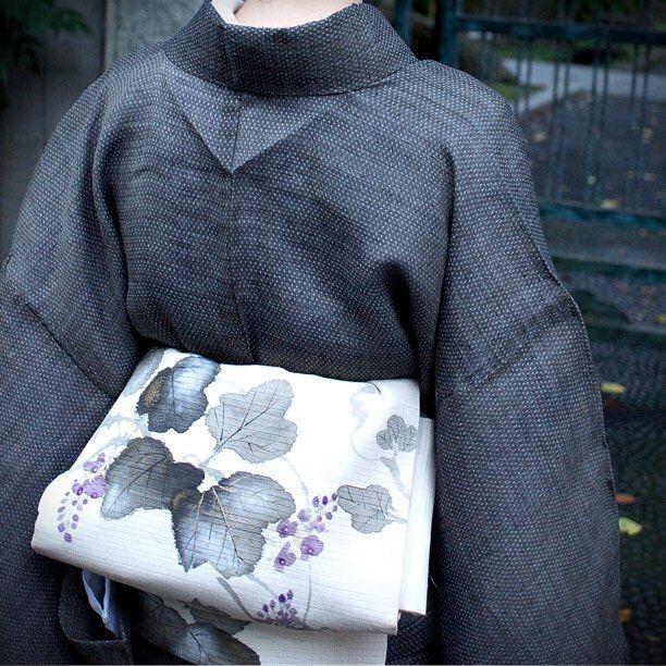 Q's clip — 越後上布に葛の帯 #japan #tokyo #setagaya #kimono #obi...