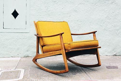 Danish modern mid century rocker in original mint saffron upholstery.