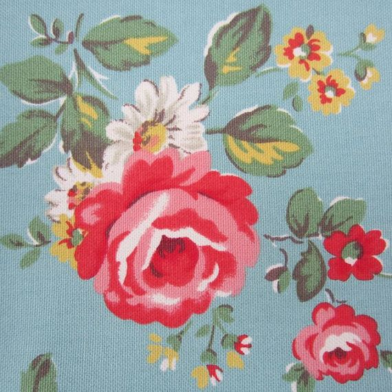 Cotton Upholstery Fabric Kentish Rose On Duck Egg Blue