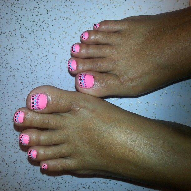 Bright pastel polish with polka dots design...fun, summer toes