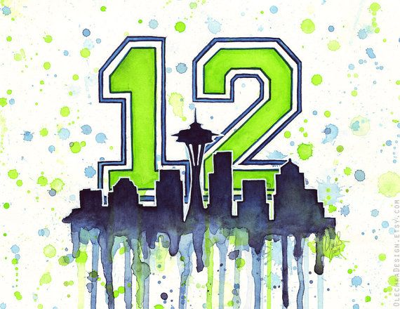 Seattle 12th Man Fan Art Watercolor Skyline Space by OlechkaDesign