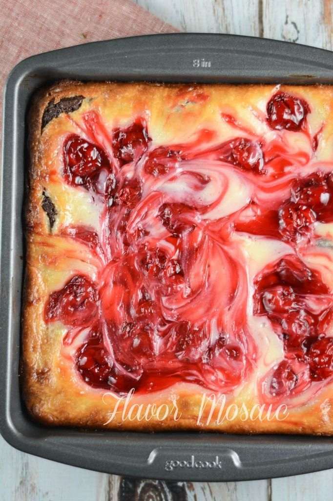 Cherry Cheesecake Brownies - Flavor Mosaic (will try the cheese layer on top of my Hot Fudge Pie recipe, for low-carb dessert)