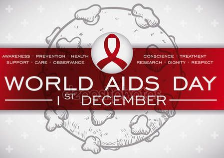 HIV Virus, Red Ribbon, Precepts in Label for AIDS Day