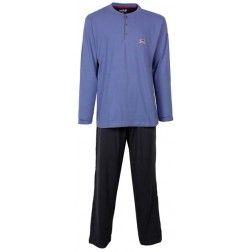 Tweekleurige heren pyjama - boven blauw, beneden zwart -