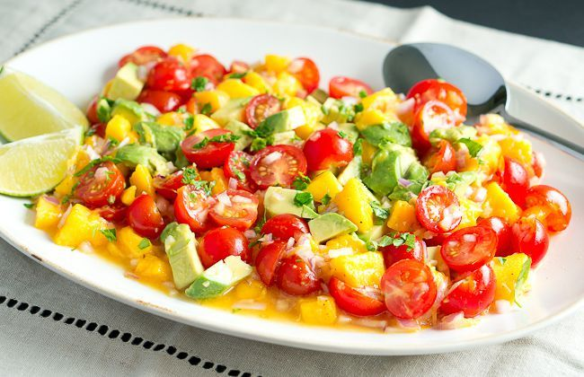 Mango Avocado Salsa | Delicious Meets Healthy | Don't you become happy just looking at this colourful salad ?! I'm sure it will taste wonderfully too and ... It's healthy. I have to remember my mummy to make this for me one day ...
