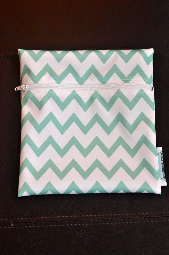 Turquoise Chevron Reusable Waterproof by SpoonerSistersDesign, $8.00