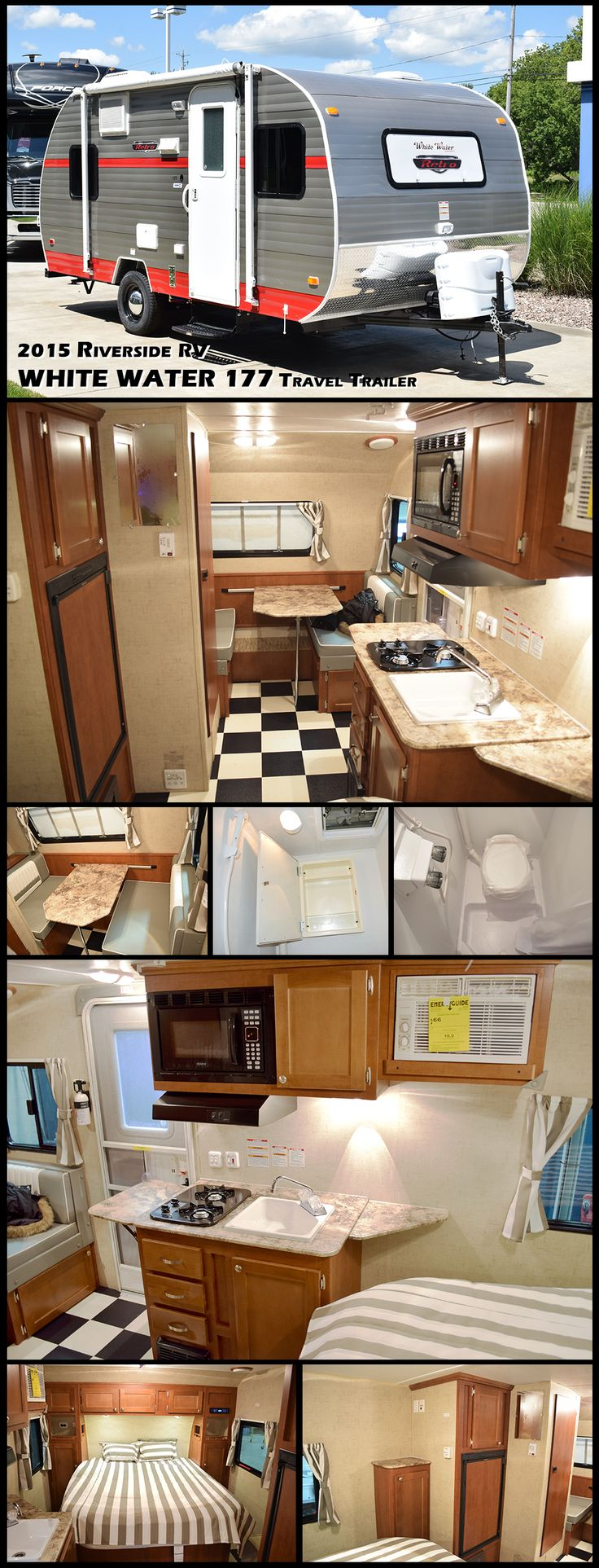 """This 2015 RIVERSIDE RV WHITE WATER RETRO 177 Ultra-Lite travel trailer has everything you would want while camping, including AC, furnace, bathroom/shower, galley with large sink and microwave oven, 2 stove top burners, refrigerator, dinette booth/bed, and a 60"""" by 74"""" walk-around bed. True Amish craftsmanship goes into each unit, and although they look like a throw-back to the 1950's, these trailers have lightweight aluminum framework for strength and durability."""