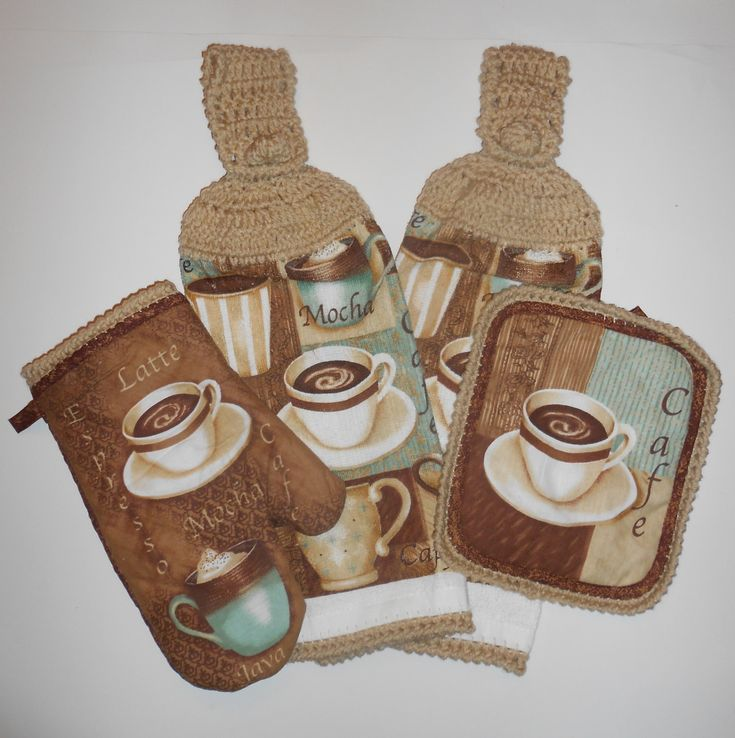 Hanging Kitchen Towels, Pot Holder, Oven Mitt, Crochet, Cafe, Coffee, Mocha. $12.00, via Etsy.