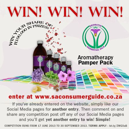 Make your Monday less stressful - Win an Aromatherapy Pamper Pack, by entering at www.saconsumerguide.co.za and like our page! For more entries like and share the competition posts daily.