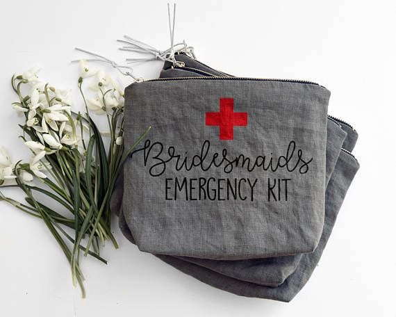 BRIDESMAIDS EMERGENCY KIT/ bridesmaids cosmetic bag/ stone