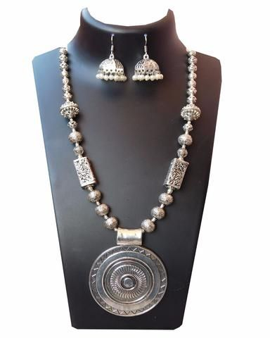 Big round pendant Oxidised german silver long neckpiece with jhumka