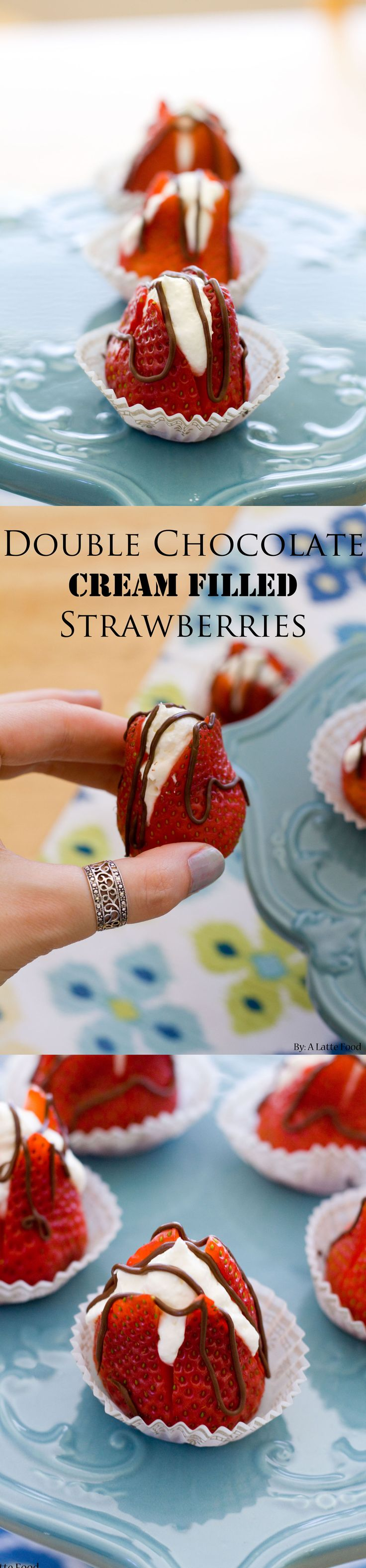Double Chocolate Cream Filled Strawberries: This five-ingredient, tasty dessert can be whipped up in five minutes! I dare you to eat only one.